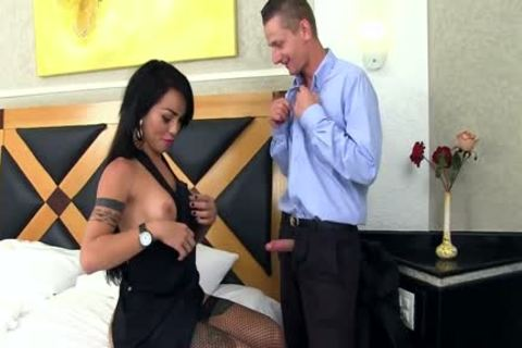 A Tattooed boy Licks shemale Nicolly Pantojas anal And Then wazoo bonks Her